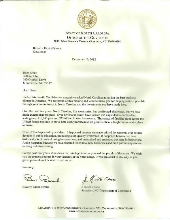 NC Governor Lettter